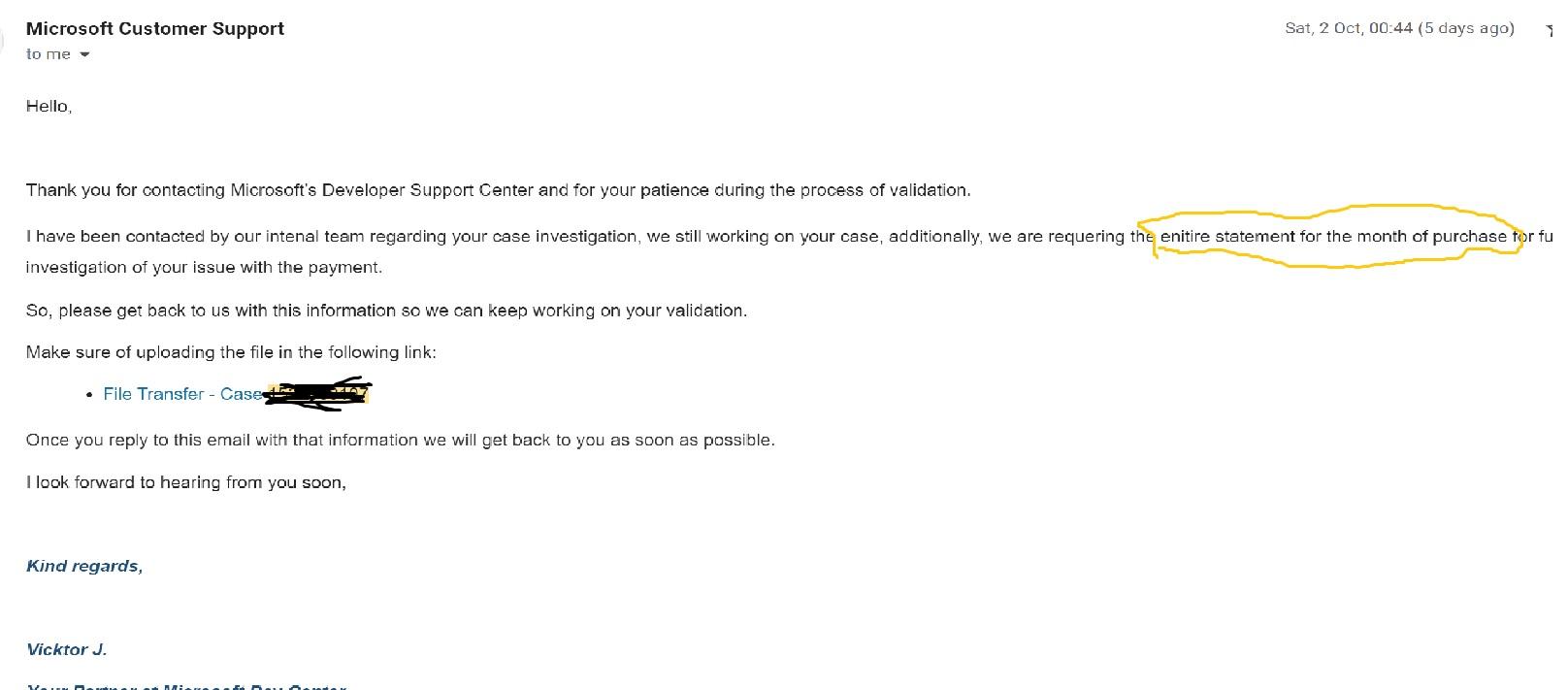 Microsoft Statement Request