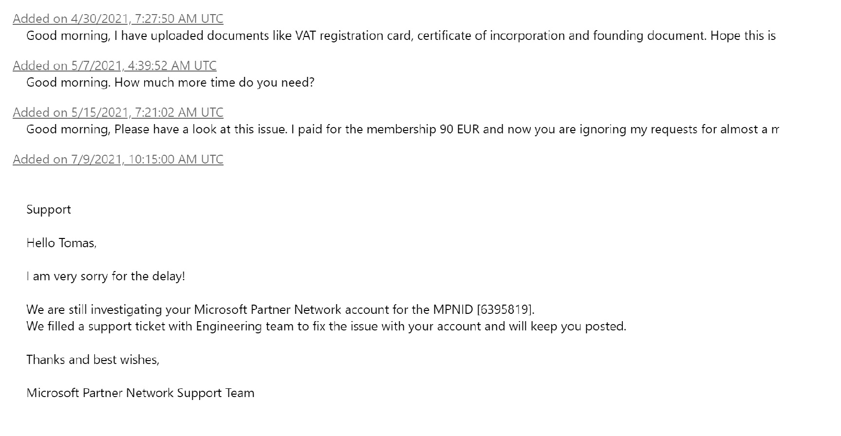 microsoft support ticket no response