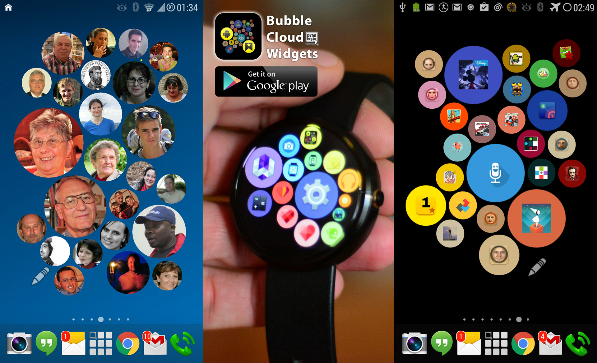 Bubble Cloud Widgets and Android Wear Launcher