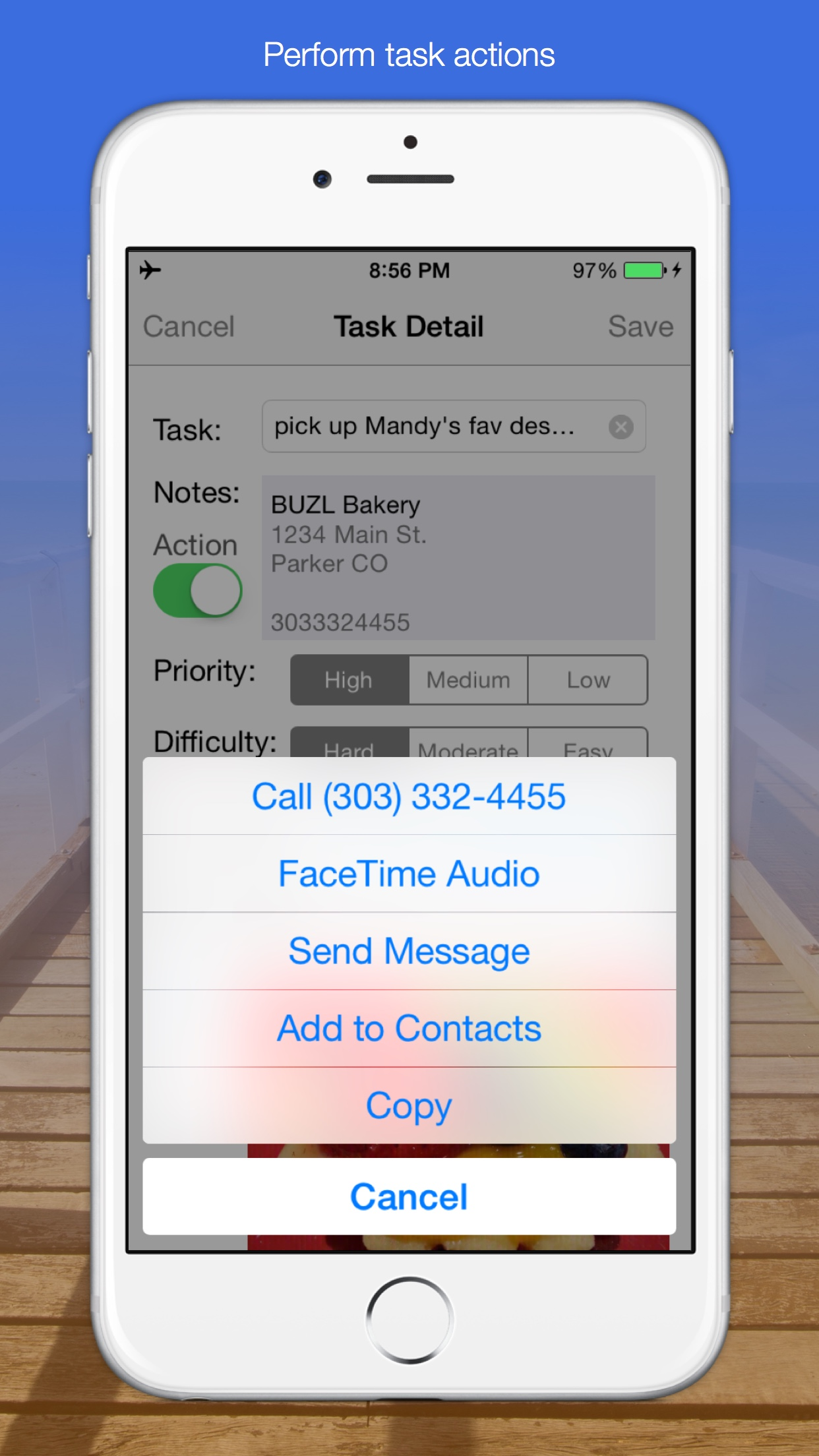 BUZL – Priority List, Task Actions & Reminders