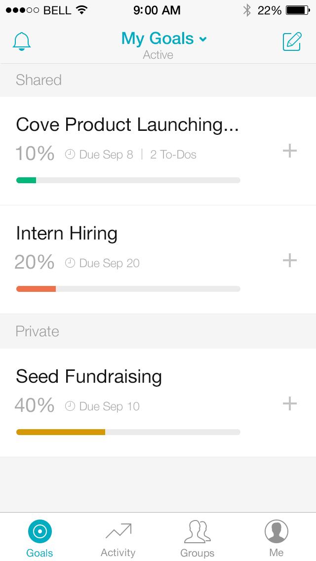 Cove – Goal Setting & Tracking