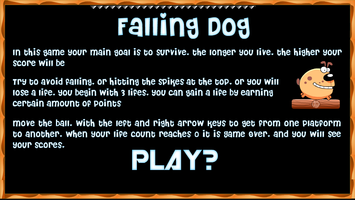 Falling fred dog