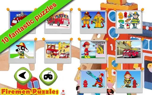 Firemen puzzles for kids