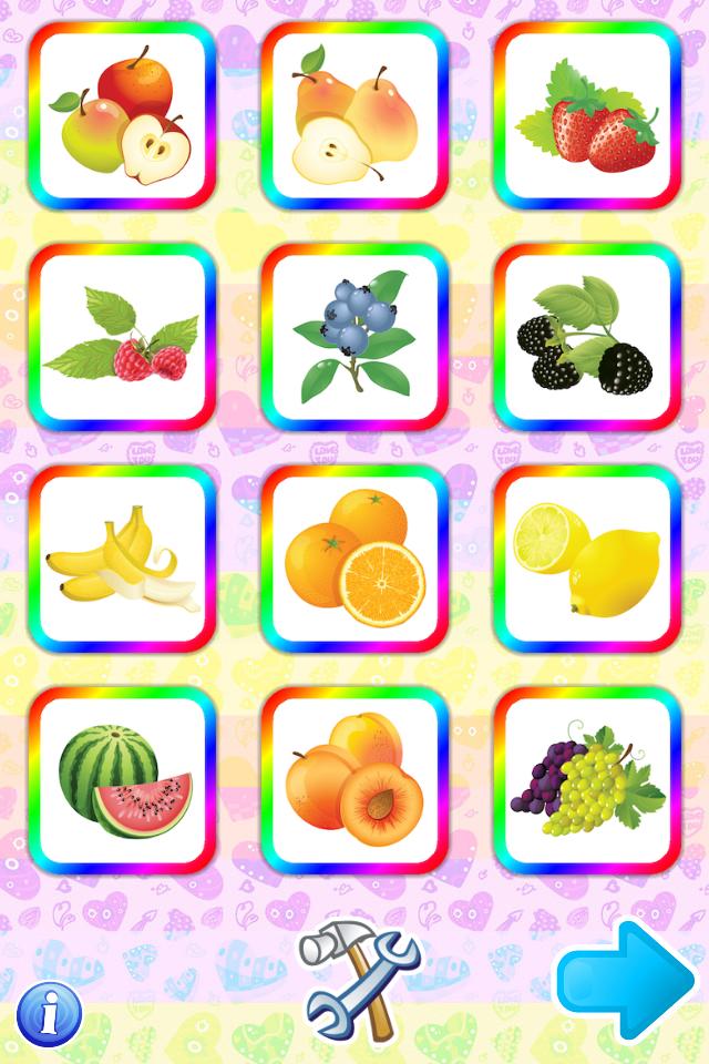 First Words: Food Fruits Vegetables ÔÇô Flash Cards for children with lector