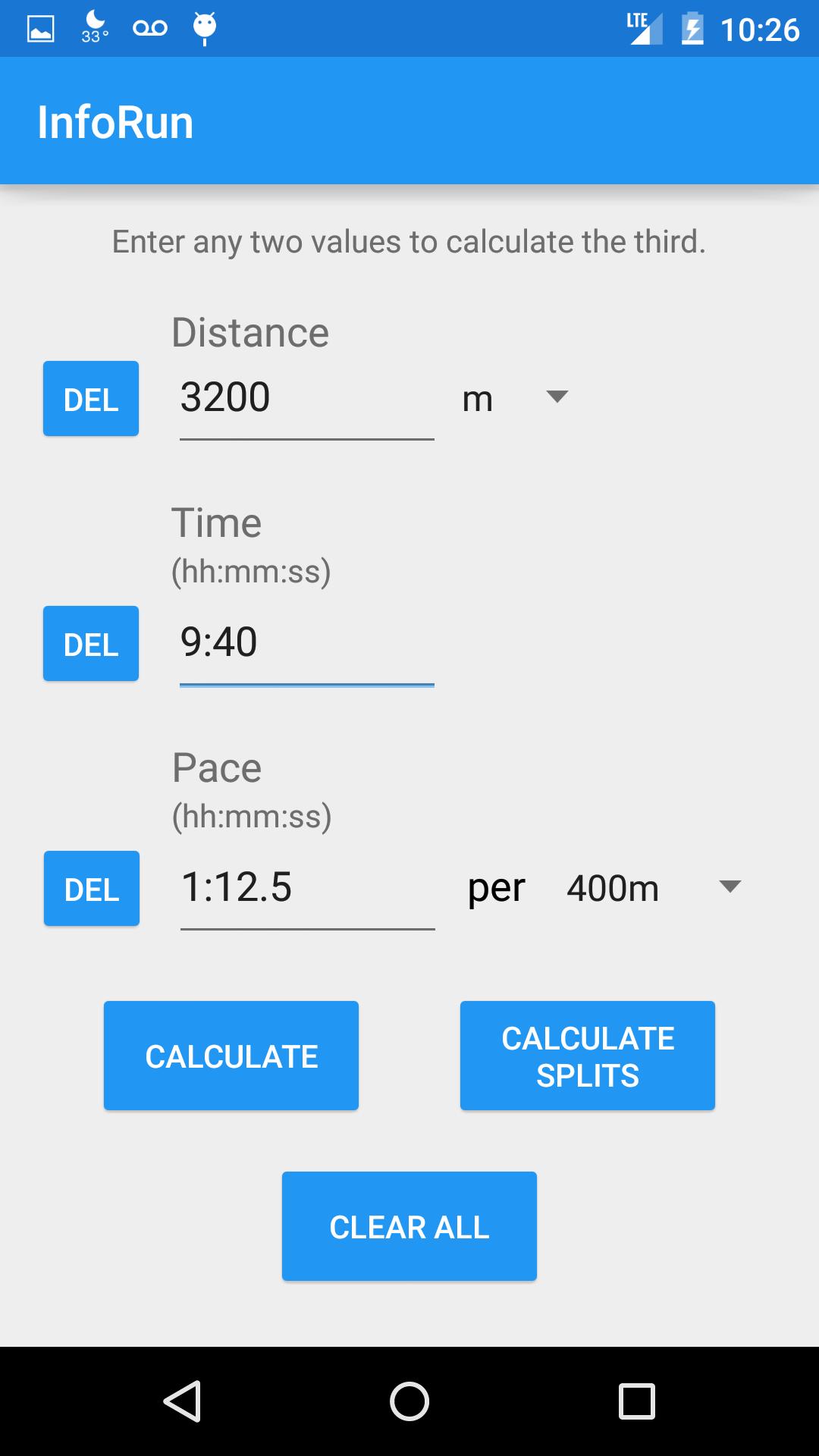 InfoRun – Running Calculator