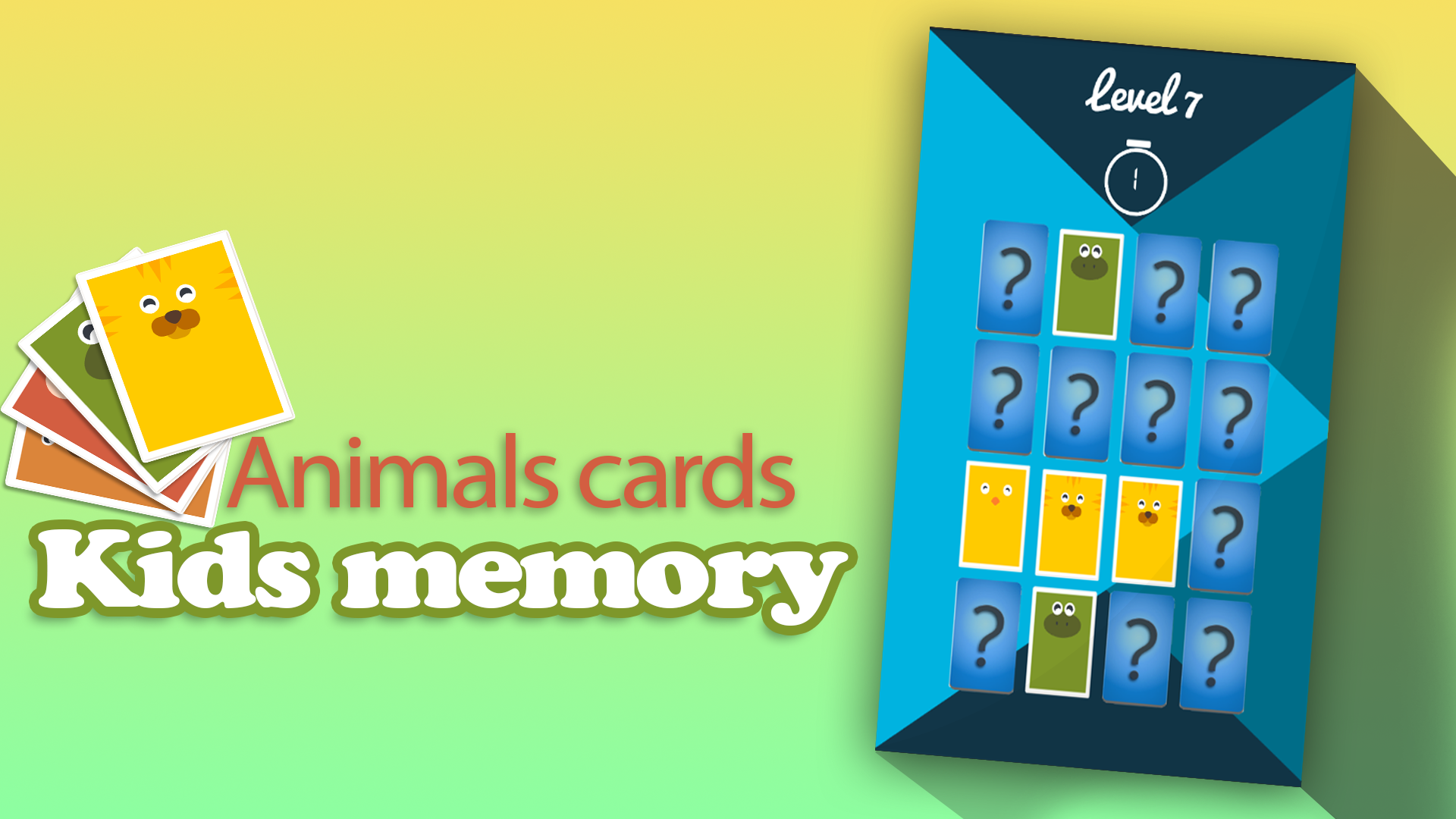 Kids memory: Animals cards