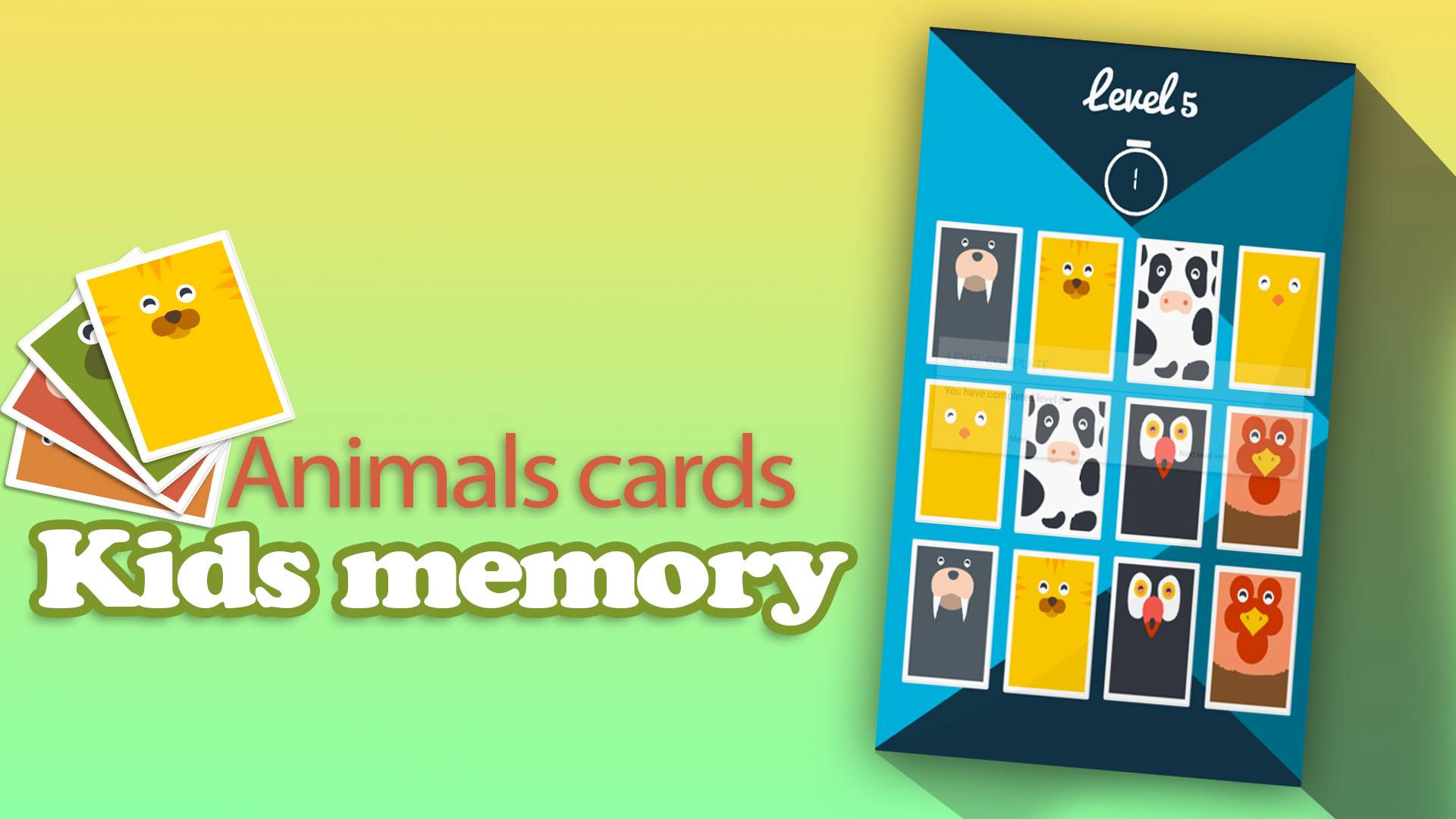 Kids memory: Animals cards