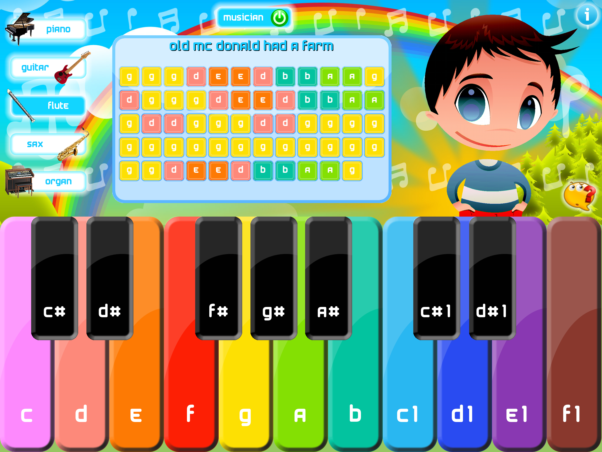 Kids Piano – learn to play nursery, preschool, children songs from music sheets on many intruments
