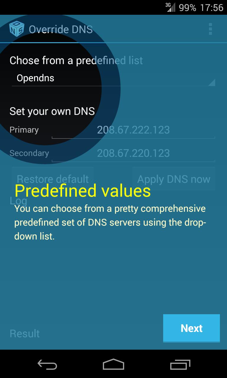 Override DNS for KitKat