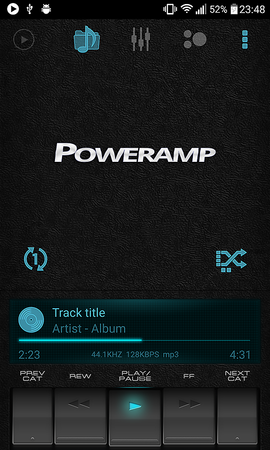 Retro Black skin for Poweramp