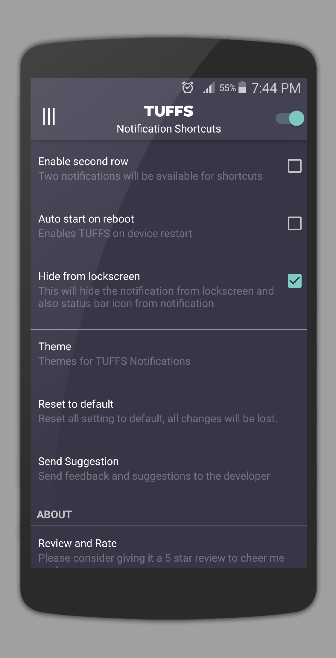 TUFFS Notification Shortcuts