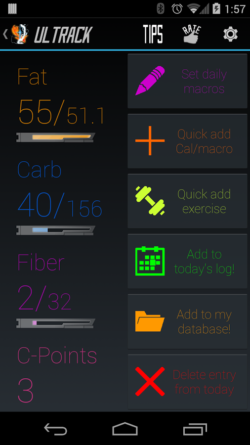 Ultrack: Fast Calorie Counter
