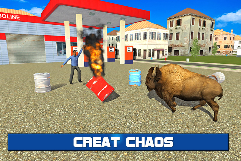 Angry Bison Attack in City 3D
