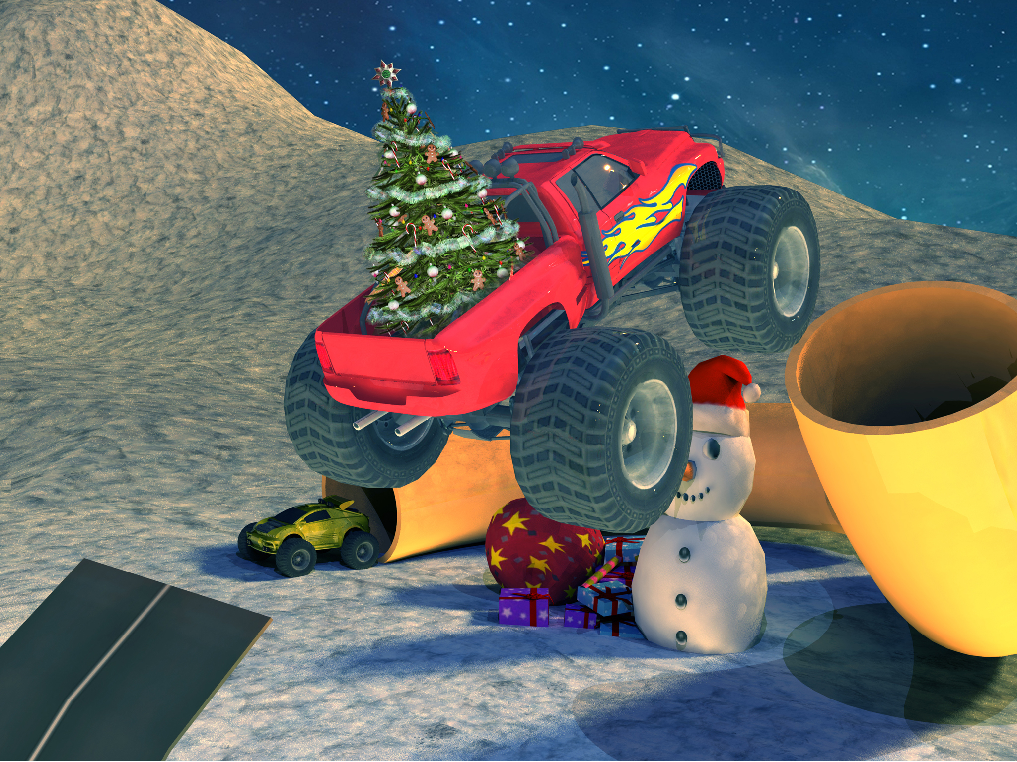Extreme x-mas car stunt racing