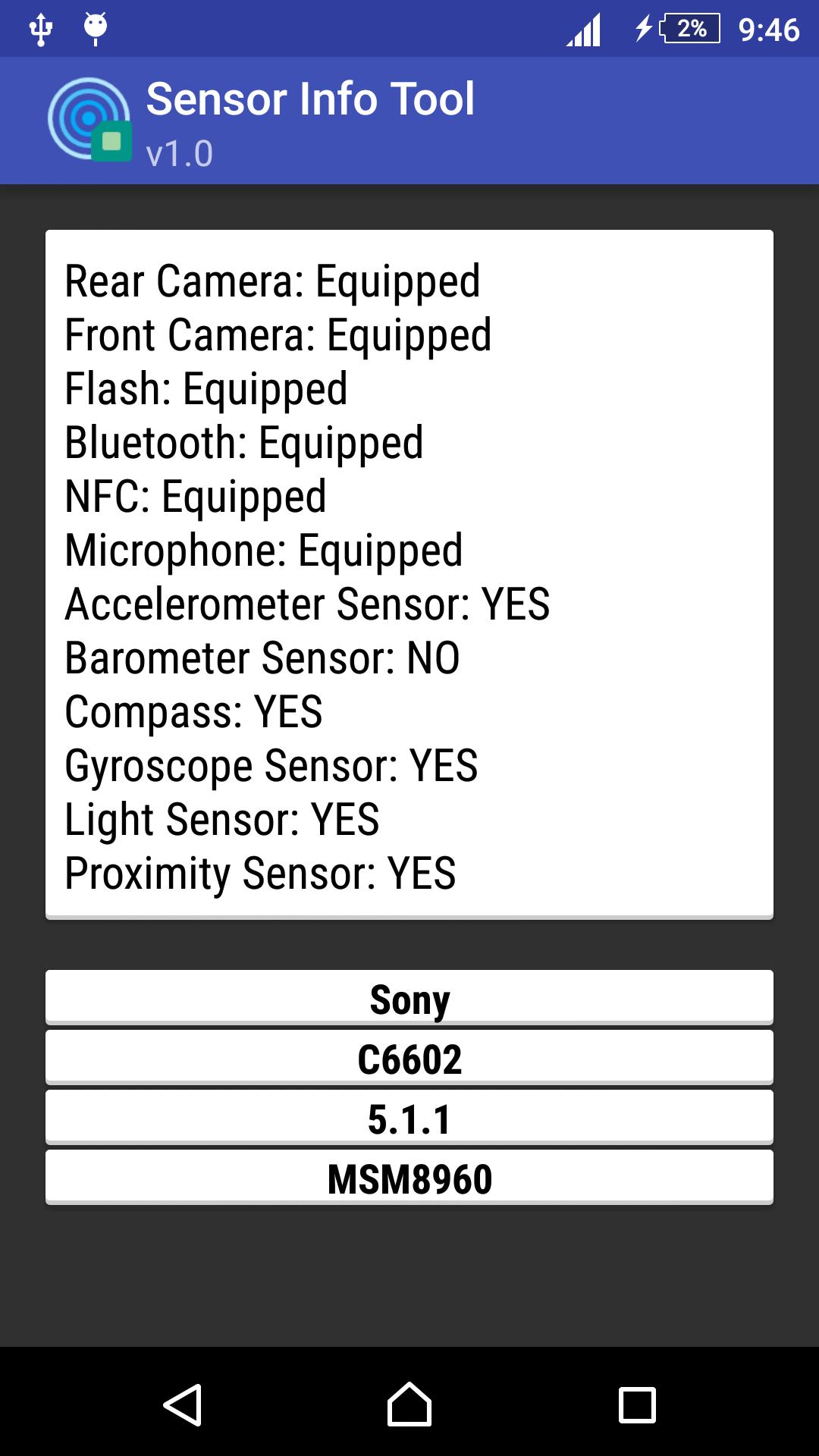 Sensor Info Tool