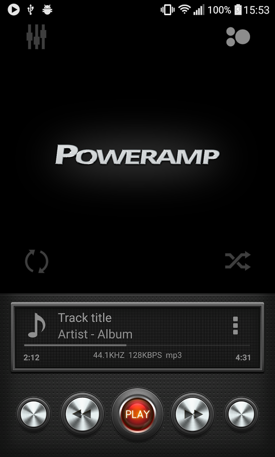 Black Metallic Poweramp skin