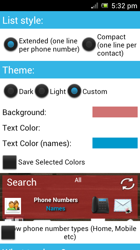 Contacts in a list widget