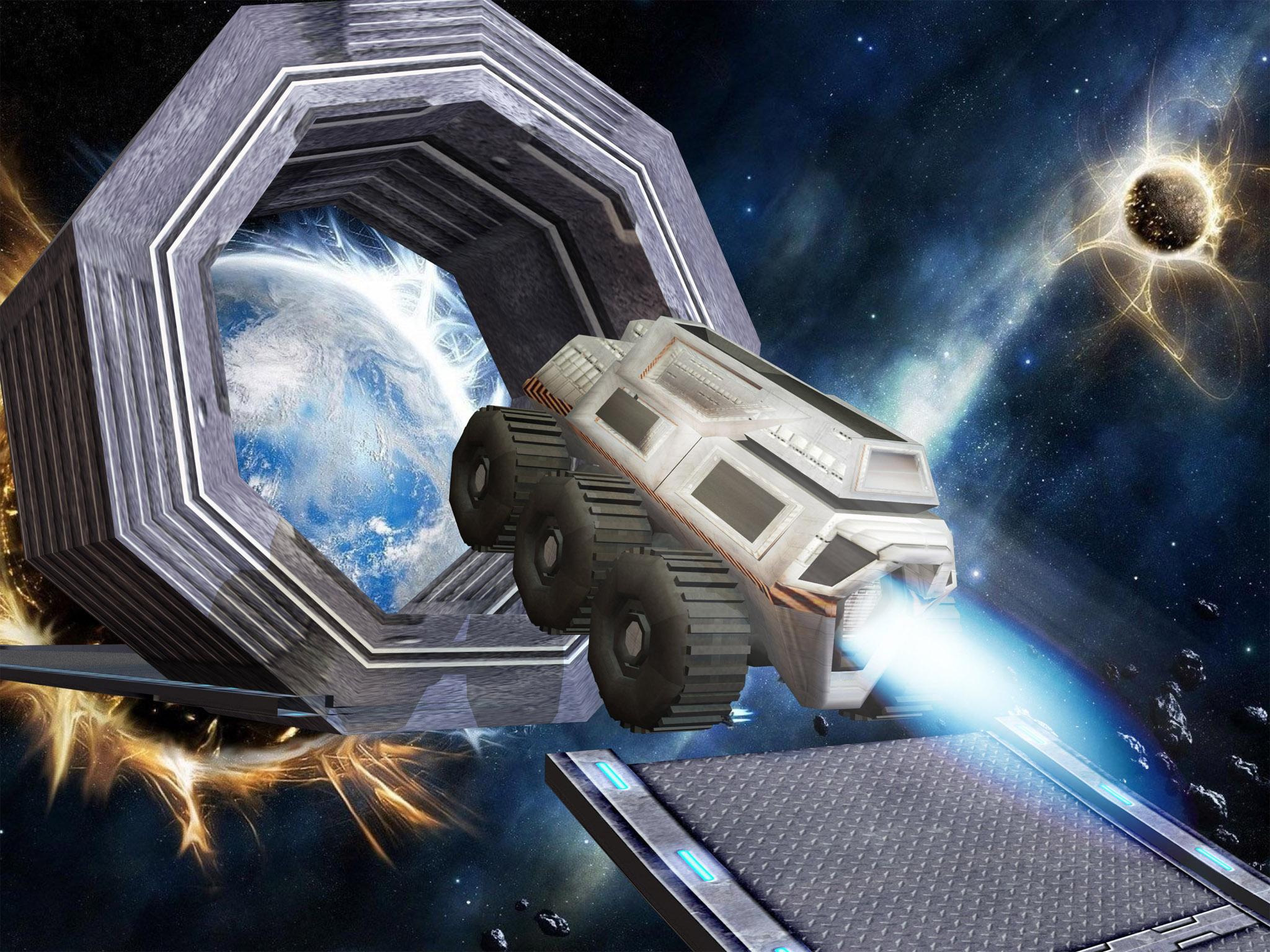 Jet Car Stunt Zone in space 3D