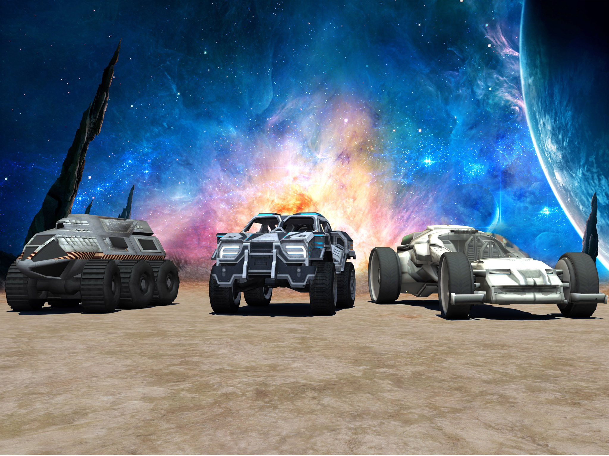 Jet Car Stunt Zone in space 3D