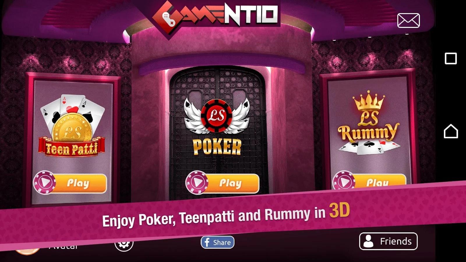 Gamentio 3D Casino Card Games