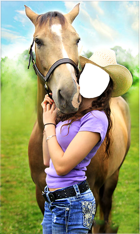 Horse With Girl Photo Suit New