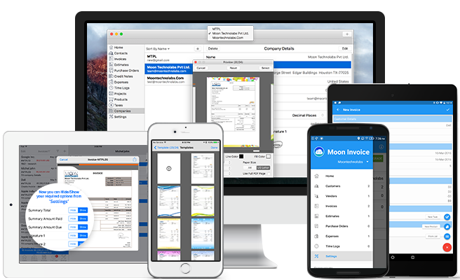 Invoice Creates Invoices Estimates Purchase Orders Customers - Invoice pro app