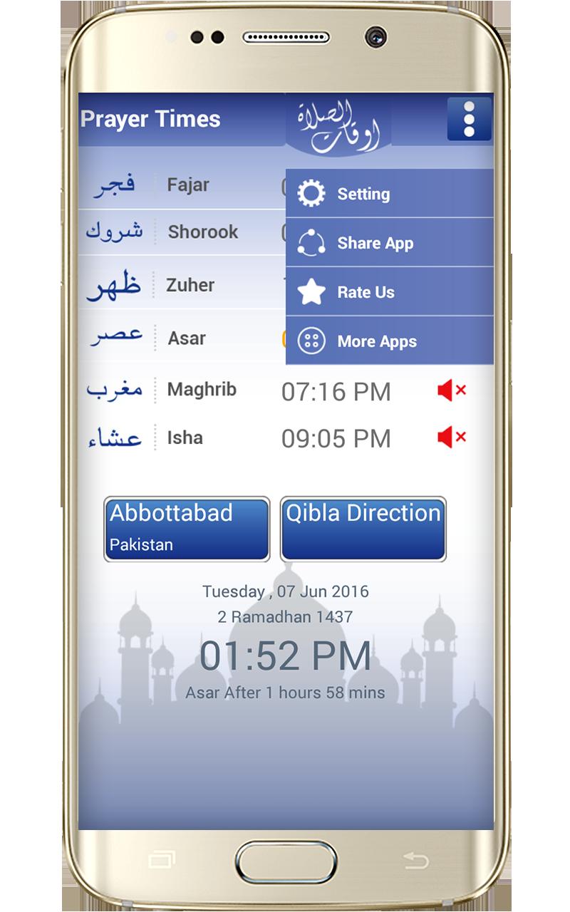 Prayer time and qibla compass