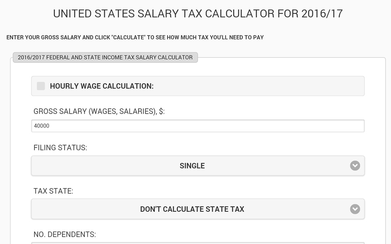 United States Salary Tax Calculator