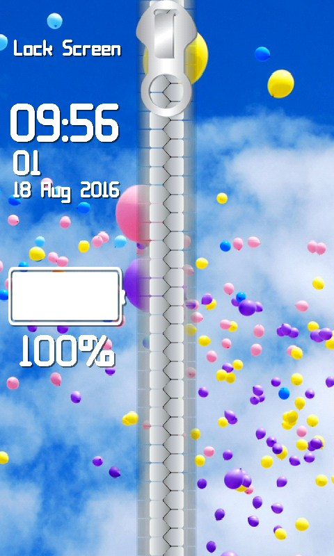 Balloon Zipper Lock Screen