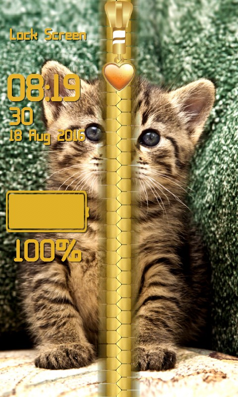 Kitty Zipper Lock Screen
