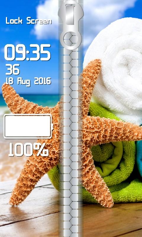 Seashells Zipper Lock Screen