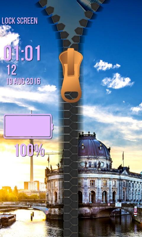 City Zipper Lock Screen