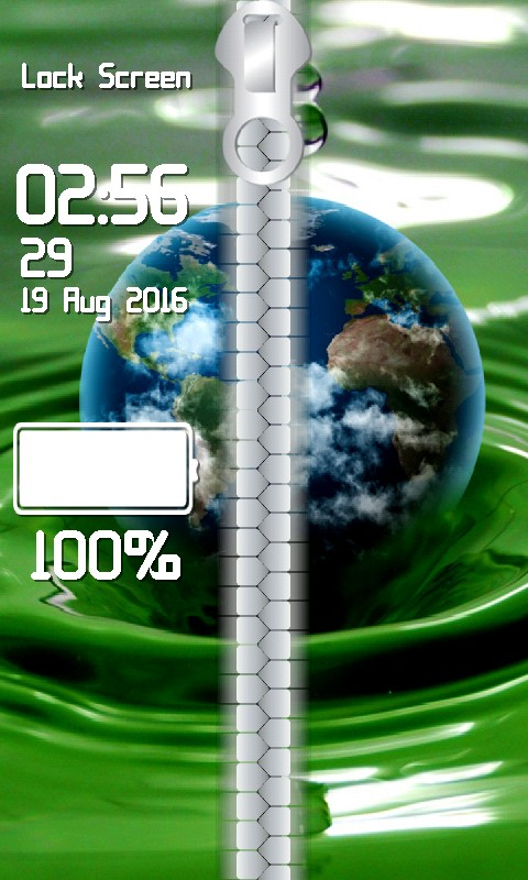 Earth Zipper Lock Screen