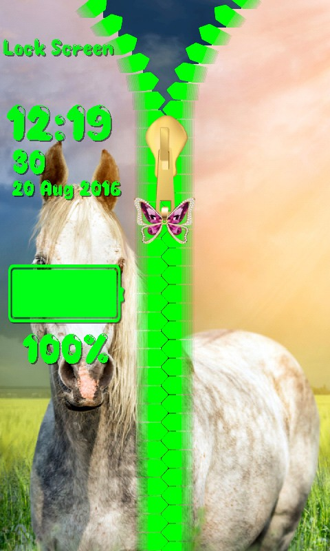 Horses Zipper Lock Screen