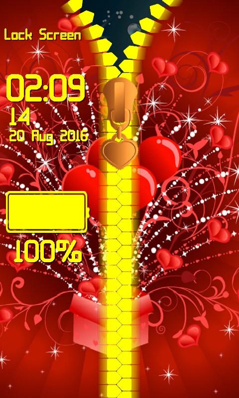 Love Zipper Lock Screen