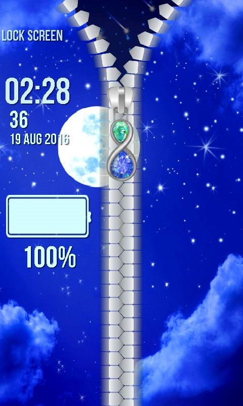 Moon Zipper Lock Screen