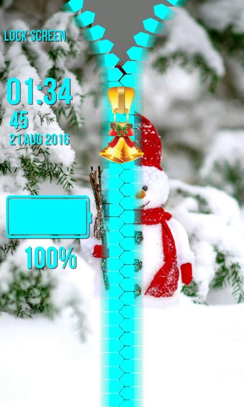 Snowman Zipper Lock Screen