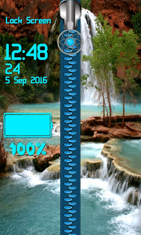 Waterfall Zipper Screen Lock