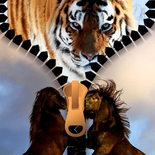 Wild Animal Zipper Lock Screen