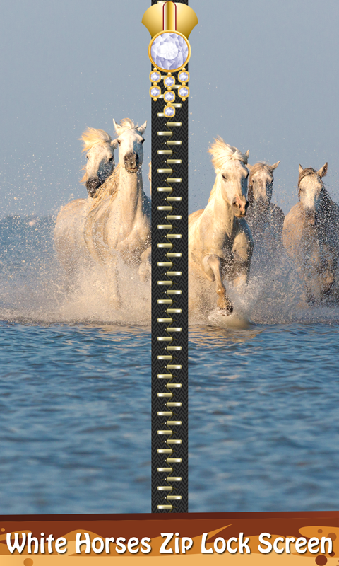 White Horses Zip Lock Screen