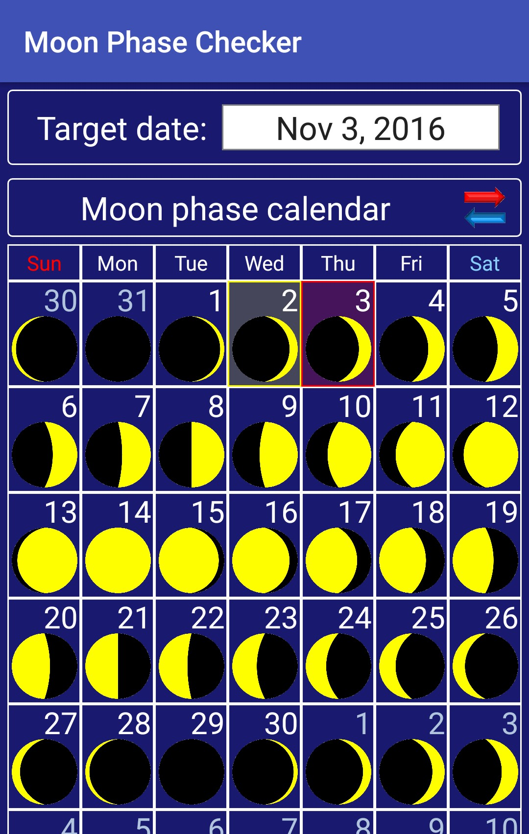 date of moon today