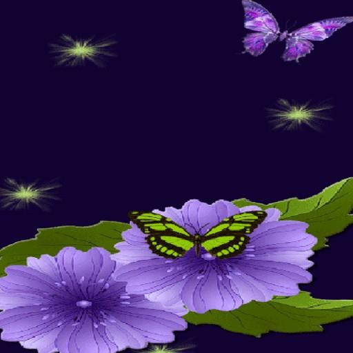 Blue Flower Butterflies LWP