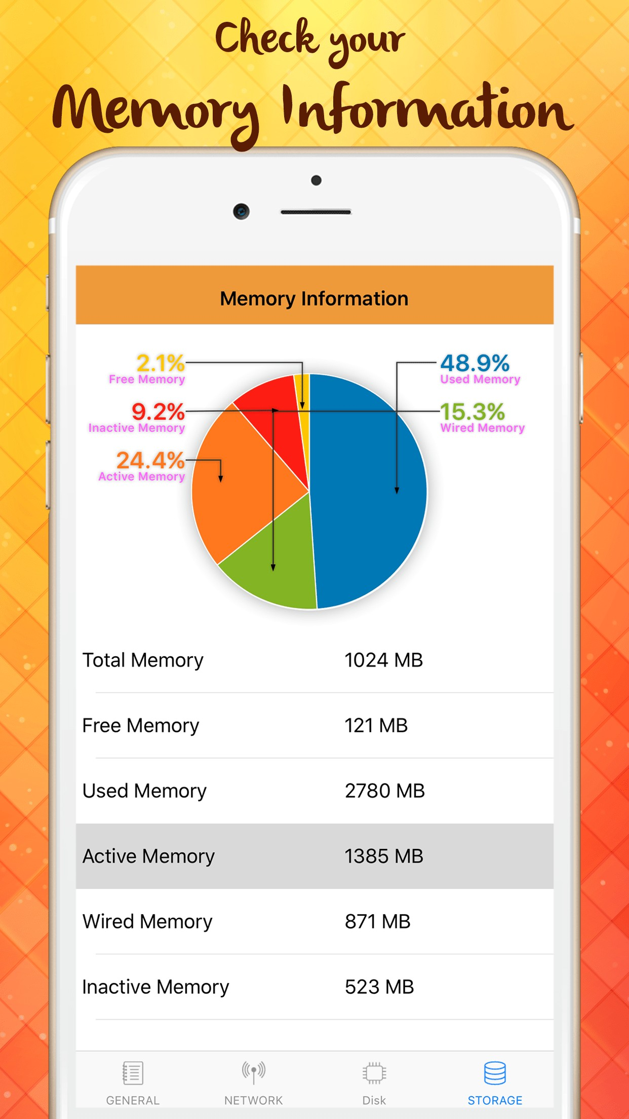 Memory Monitor: Disk, Storage and Processor info