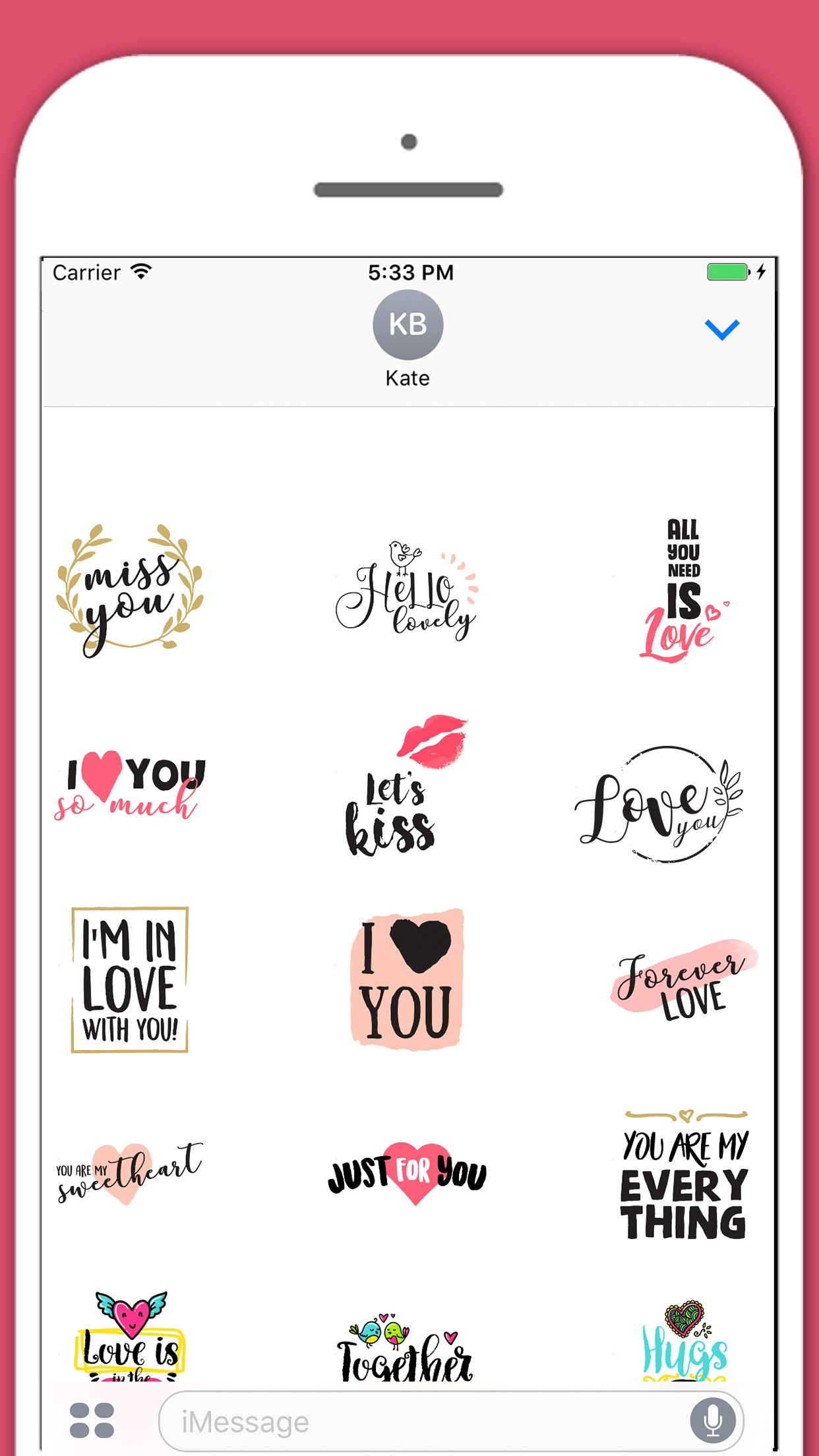 Love In Air Kisses Stickers for iMessage
