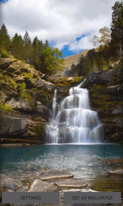 Mountain Nature Waterfall LWP