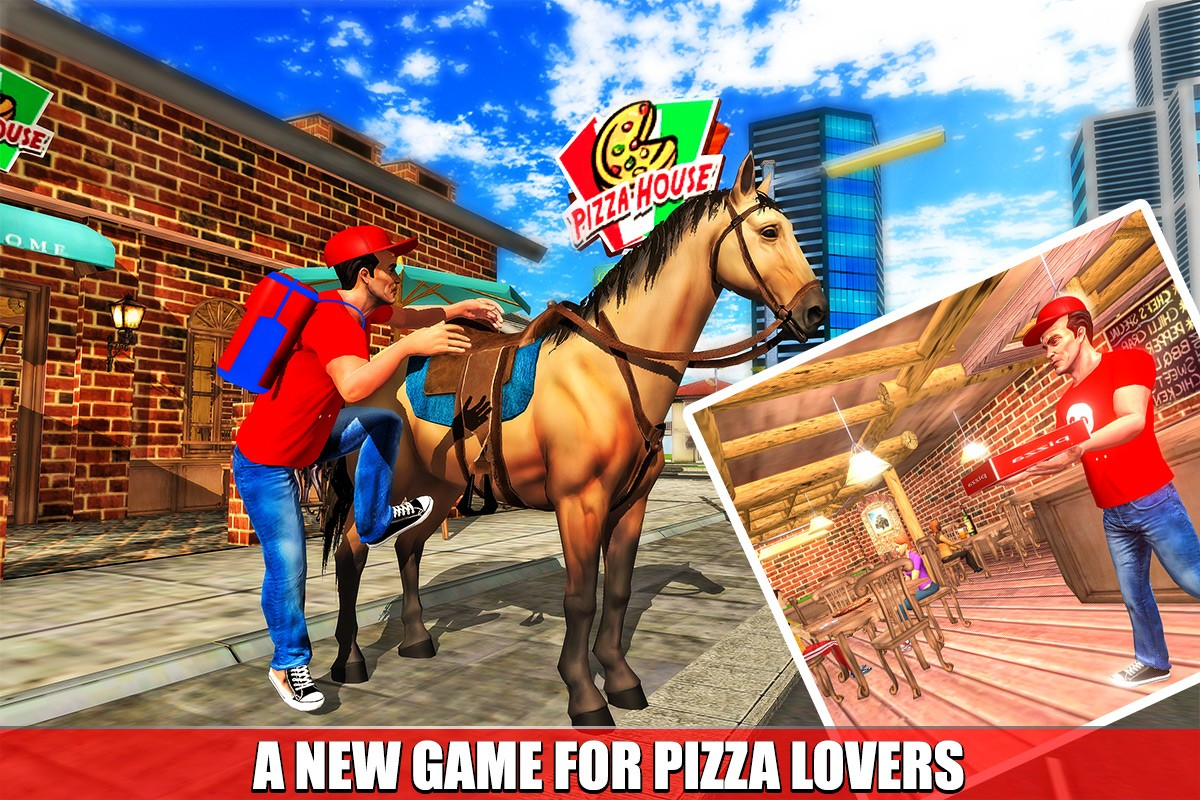 Mounted Horse Pizza Delivery