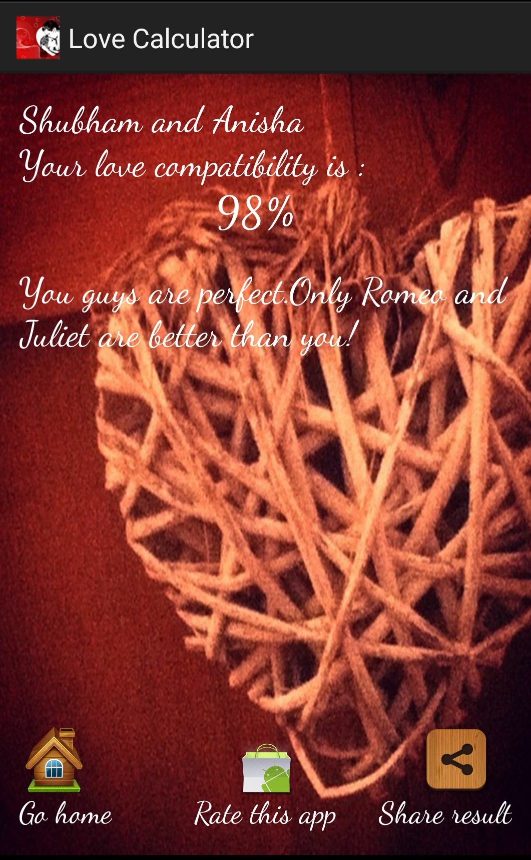 Trusted love calculator for couples.
