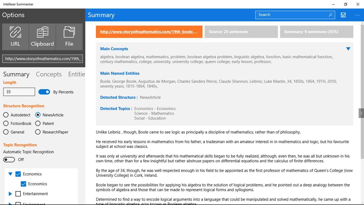 Intellexer Summarizer for Windows 10