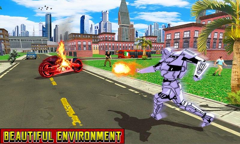 Flying Robot Bike Epic Battle