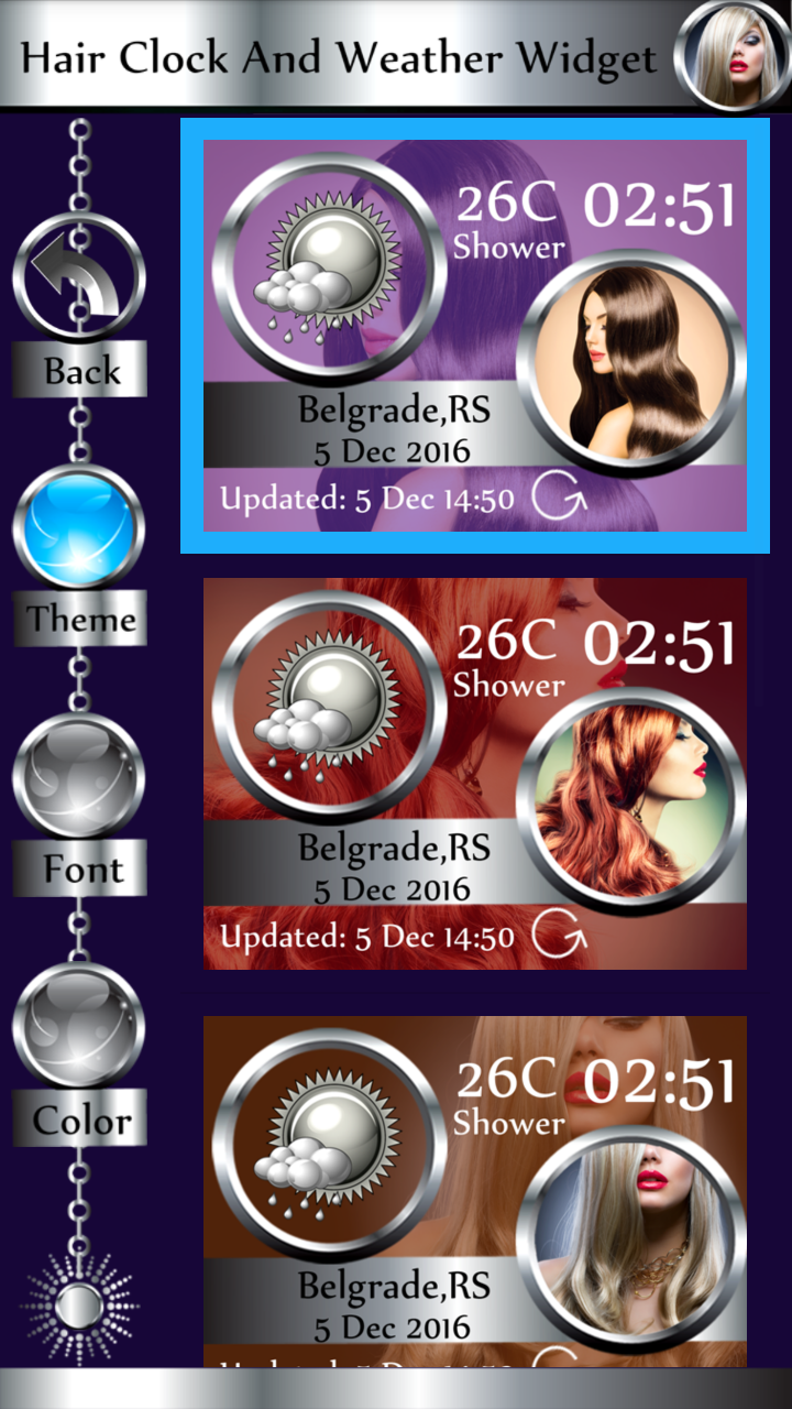 Hair Clock And Weather Widget